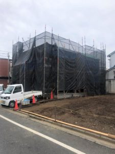東京都足立区 H様邸新築工事:足場設置完了