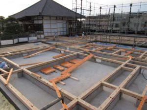 埼玉県さいたま市西区 寺院新築工事:土台敷き